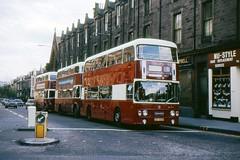 Queue to turn left (georgeupstairs) Tags: bus edinburgh orion alexander titan doubledecker leyland mcw 950 atlantean goldenacre an68 pd220 edinburghcorporationtransport osf950m