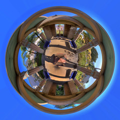 Egyptian Museum 360 HDR (charlesashaw) Tags: world panorama art museum architecture canon geotagged bay san downtown little pano jose panoramas 360 panoramic tagged cal sphere area planet planets geo 1022mm hdr 360x180 circular 360 projections sphericalpanorama stereographic canon1022mm equirectangular 50d geo:lat=37334143 geo:lon=121922949