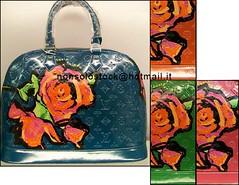 LV Vernis Alma w. Rose (nonsoloiosono) Tags: blue roses paris green leather shopping monogram alma stephen buy lv louisvuitton fluo sprouse vernis fuxia nonsolostock