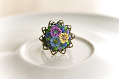 crystal blossom ring (Chili Crab) Tags: flowers blue summer green yellow one spring chili crystal handmade ooak violet crab jewelry ring kind fimo lilac clay etsy brass 2009 filigree polymer swarovsky