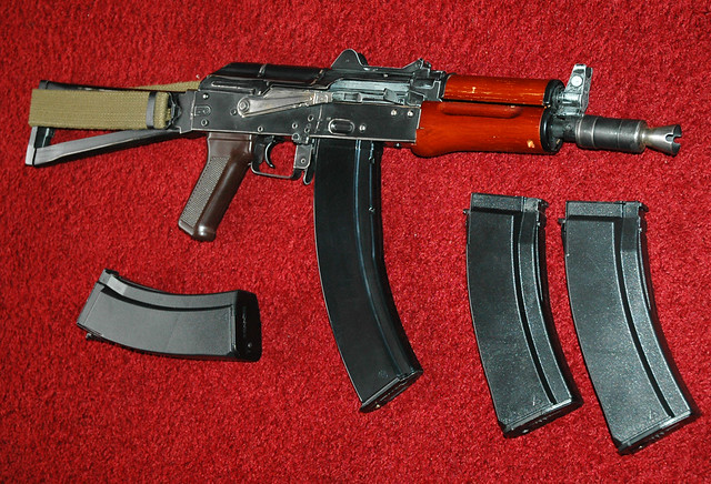 Kalash AK74U airsoft gun with hicap mags. My 'weathered' Kalash AK74U with