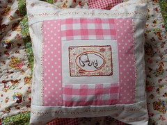 Wombat pillow (Follow the White Bunny) Tags: pink orange michael ross embroidery heather dumb polka dot pillow gingham miller cushion wombat