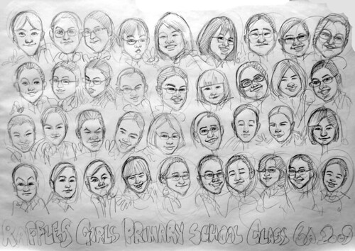Group caricatures for Raffles Girls Primary School Class 6A 2009 Pencil sketch