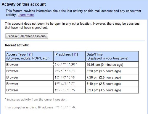 Gmail account activities