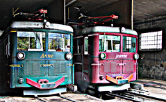 Anne and Jeanne at TMB depot, Le Fayet (Jeremy R. Hartley) Tags: france station electric marie train anne gare tram railway rack jeanne chamonix gauge mont tramway blanc montblanc narrowgauge atelier tmb remise saintgervais metre lefayet stgervais tramwaydumontblanc