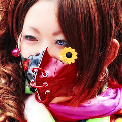 sunflower grow everywhere (ajpscs) Tags: street portrait people girl strange face fashion japan hair asian japanese tokyo weird eyes nikon asia mask cosplay earring odd harajuku sunflower  nippon  queer bizarre extraordinary  wickedstyle  streetfashion peculiar  contactlens d300  uncommon  cooleyes utatafeature ajpscs kosupure streetsofharajuku moderngeisha newgeisha