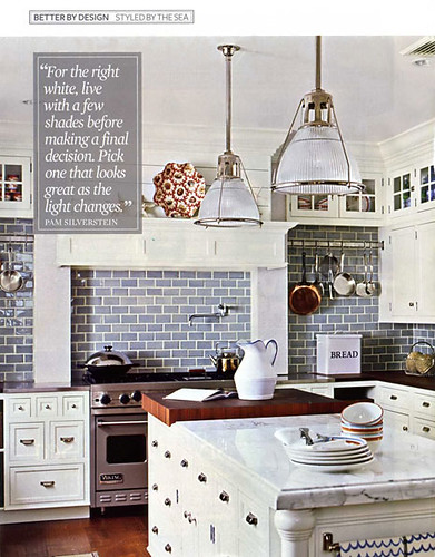 White kitchen: Blue subway tile + white marble in beach-inspired makeover