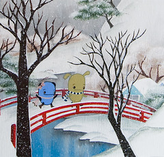 Snow bridge detail (Noferin.) Tags: wood bridge winter snow cold tree ice scarf painting view pecan redbridge pandacake noferin pecanpals