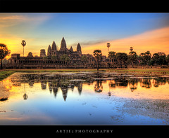 The Dawn of Angkor Wat :: HDR (Artie | Photography :: I'm a lazy boy :)) Tags: reflection building classic water stone architecture photoshop sunrise canon temple dawn ancient sandstone bravo cambodia khmer state cs2 tripod wideangle angkorwat structure 1020mm siemreap hdr artie angkorvat 12thcentury 3xp sigmalens photomatix tonemapping tonemap 400d rebelxti suryavaman dopplr:explore=a081