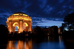 The Palace (kaoni701) Tags: sf sanfrancisco california city usa reflection water night marina golden bay nikon gate long exposure arch dusk fine arts palace shutter palaceoffinearts d90
