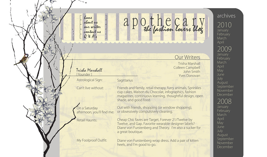 Apothecary Fashion Blog mock webpage II
