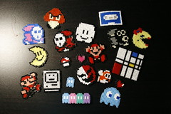 Mini hama bead sprites (jennpabon) Tags: cloud moon mushroom beads mac crafts craft sprite mini mario pacman cassette mondrian piet hama goomba