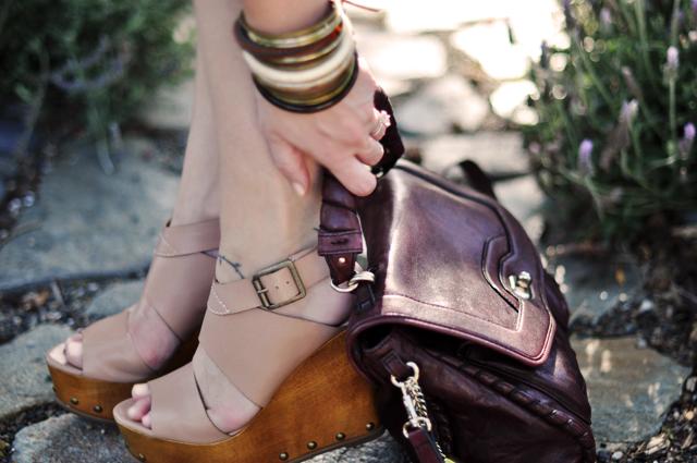 steve madden wooden platform wedges and burgundy leather bag+bangles