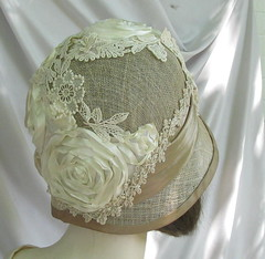 Cream and Taupe Summer  Wedding Hat (Vintage Style Hats by Gail) Tags: couture millinery weddinghat handblocked bridalhat specialoccasionhat