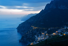 Good Evening Positano (juliaclairejackson) Tags: longexposure italy panorama mountain seascape night landscape island capri evening twilight mediterranean nightlights amalficoast view nightshot panoramic vista positano amalfi seaview mountainroad theheavens mountainous montepertuso latagliata
