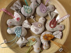 Linen Bird Ornaments (PatchworkPottery) Tags: christmas bird handmade linen sewing crafts ornament fabric exchange birdsofchange