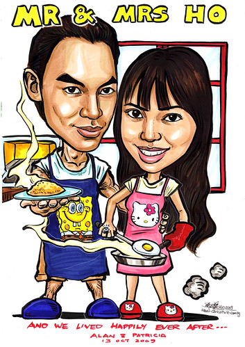 Couple caricatures cooking at home A4