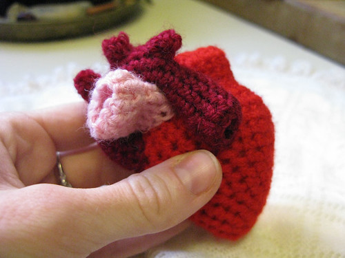 crocheted anatomical heart