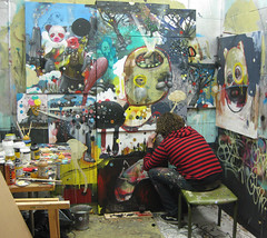 Rutger at work (collinvandersluijs) Tags: illustration painting licht groen mixedmedia galerie van collin der collaboration rutger sluijs termohlen