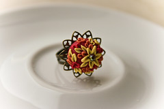 colors of the wind ring (Chili Crab) Tags: flowers red orange yellow one chili crystal handmade ooak crab jewelry ring kind fimo clay etsy brass 2009 filigree polymer swarovsky