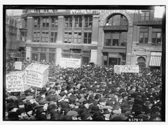 May Day '13, strikers in Union Square  (LOC) (The Library of Congress) Tags: nyc newyorkcity white ny newyork black vintage italian squares labor rally protest hats retro mob angry strike unions libraryofcongress immigrants hebrew mayday unionsquare unrest crowds strikes placard 1913 yiddish 17thstreet bowlers 17thst wages strikers organizedlabor jacksonbuilding plackard xmlns:dc=httppurlorgdcelements11 laborstrikes bainnewsservice dc:identifier=httphdllocgovlocpnpggbain12864 mayday1913 barbersstrike laborsigns barberstrikes barbersstrikes