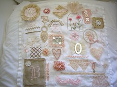 finished stitching sampler (skblanks) Tags: pink brown white vintage hearts ribbons cross stitch lace embroidery antique buttons crochet cottage mother cream silk velvet pearls romantic stitching pearl chic knots bows shabby monograms edgings