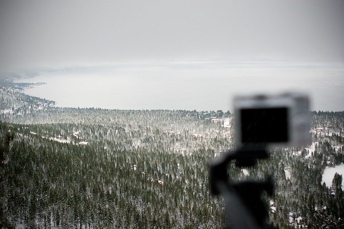 Taking a photo of Lake Tahoe
