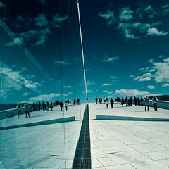 To The Sky (Zen Roxy) Tags: roof sky people reflection clouds square mirror opera lightroom snhetta oslooperahouse 5dmarkii