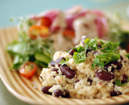 Coconut Red Bean Quinoa, with a salad