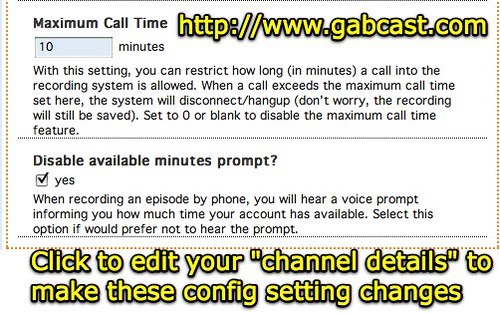 Gabcast permits max call time and available minutes prompt