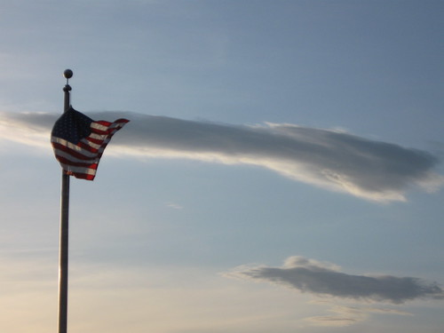 flag in the sky by the track