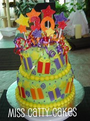 Natalie's 30th Birthday Cake (Miss Catty Cakes Cake Design) Tags: birthday cake stars 30thbirthday presents colourful ribon