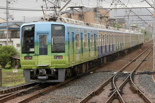 Nankai1000series(Namba PARKS's AD train) in Shirasagi,Sakai,Osaka,Japan 2009/4/26