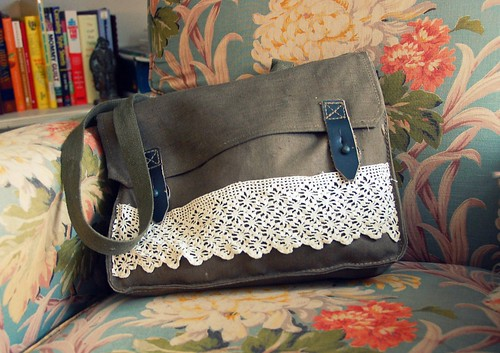canvas and lace (upcycled) camera bag