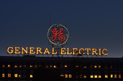 General Electric sign at night, May 30, 2009. Photo by Chuck Miller.