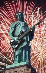 Guitar Playing Statue of Liberty 350px