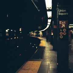 Union Square (Inside_man) Tags: people signs newyork texture 120 6x6 tlr film colors mediumformat subway colorful minolta bokeh manhattan platform citylife fluorescent unionsquare lightandshadow autocord portravc minoltaautocord