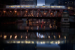 The 4:35 makes every stop. (Tony Reynes) Tags: chicago reflections subway dawn 2009 thel wolfpoint water2009chicagowolfpointdawn