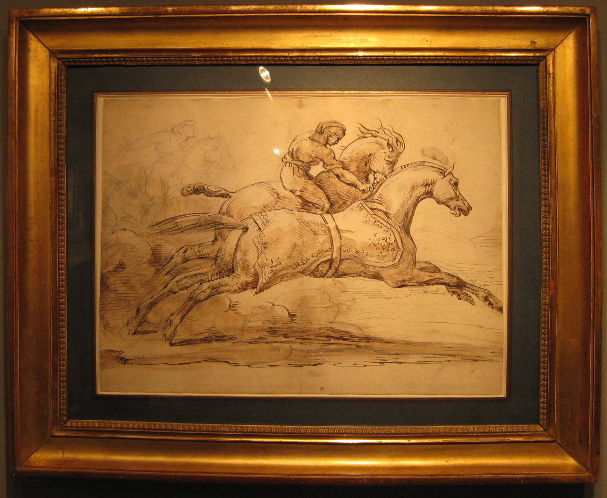 Thédore Géricault (French, 1791-1824) Two Galloping Horses. Pen and brown ink and brown wash, over an extensive underdrawing in black chalk. 35.3 by 48.4 cm. Stephen Ongpin Fine Art.
