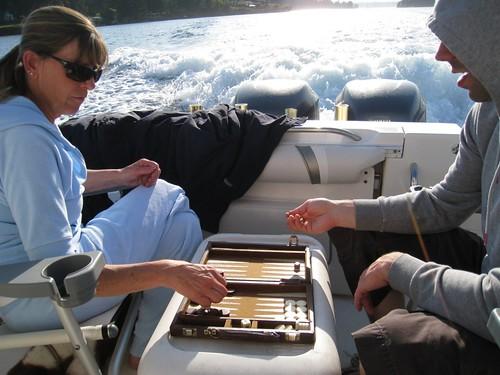 backgammon on the boat