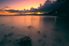 tranquil (tropicaLiving - Jessy Eykendorp) Tags: longexposure light sunset sea sky bali seascape color beach nature water coral clouds indonesia coast rocks north shoreline east tranquil goldenhour northeastern candidasa efs1022mm outdoorphotography canoneos50d tropicaliving hitechfilters rawproccessedwithdigitalphotopro tiffproccessedwithadobephotoshopcs3 hitechfilterndgrad