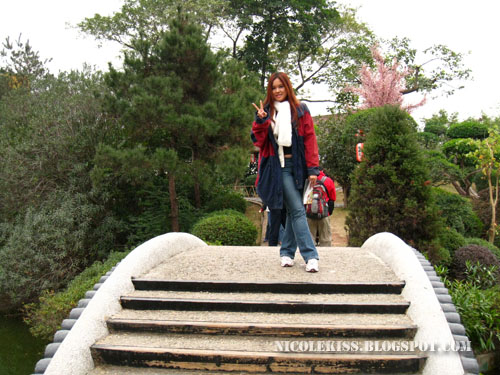 standing on katsura imperial villa's bridge