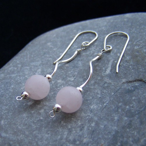 Sterling silver and rose quartz long earrings