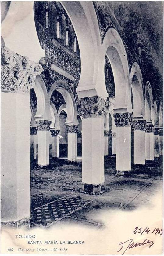 Sinagoga de Santa María la Blanca hacia 1900. Postal de Hauser y Menet