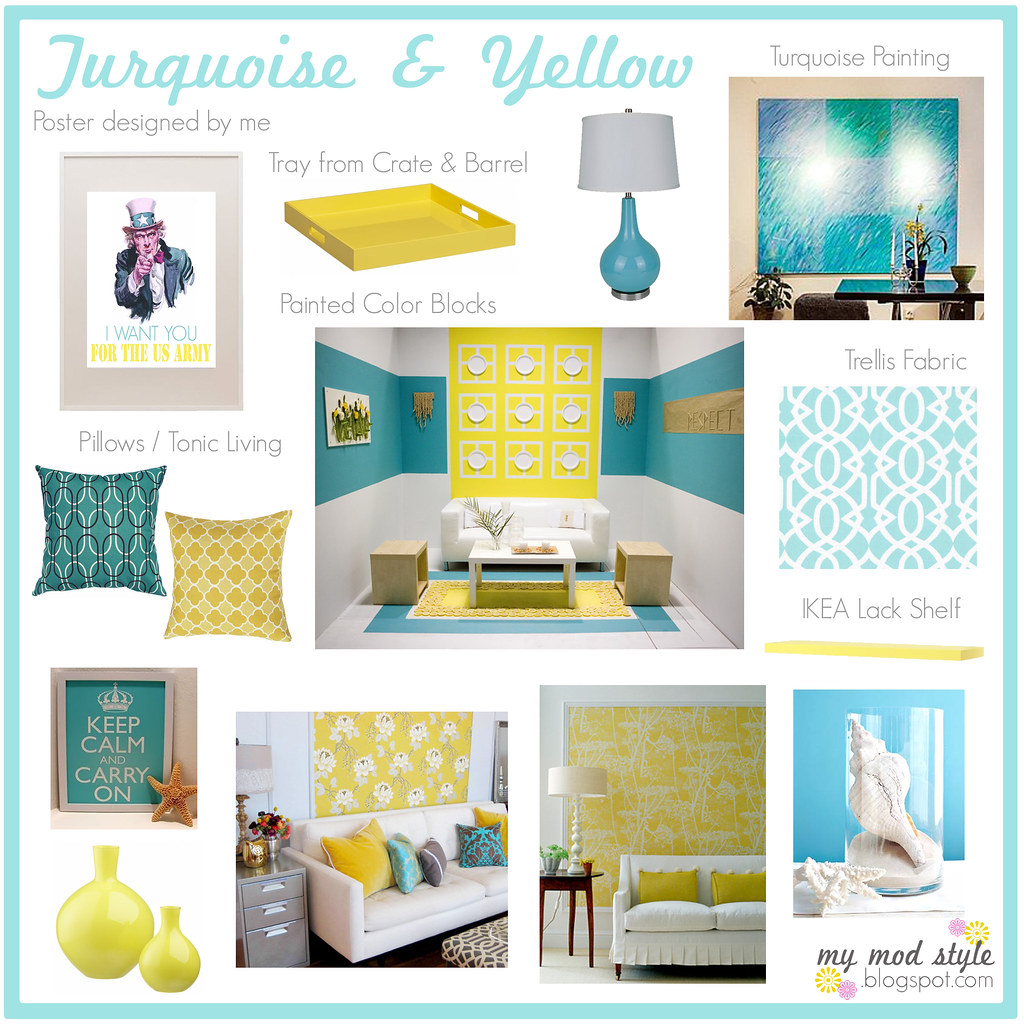 Yellow Gray And Turquoise Decor