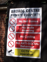 Broads Centre Private Property warning sign