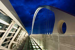 Storm coming into architecture                   - Santiago Calatrava - (Giovanni Gori) Tags: longexposure bridge santiago sunset italy white storm black art lines architecture night clouds landscape geotagged photography nightscape shapes ponte cala