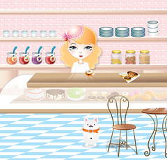 Honey Sweet Shoppe (imwithsully) Tags: pink portrait cute art coffee girl cake shop illustration cat tile cherry table dessert store artwork strawberry cookie sweet furniture pastel plate bowl case cupcake bakery icecream donut doughnut kawaii blonde pastry croissant icing jelly soda grocery jam vector grape sodajerk bigeye adobeillustrator cruller foodwithfaces