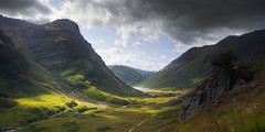 Anoach Dubh Sunrays, Glen Coe, Scotland (TimSmalley) Tags: summer storm landscape scotland glencoe reedit