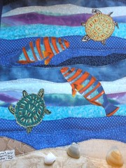 Journal Quilt without Border (Pictures by Ann) Tags: ocean china blue original brown shells fish green art texture gulfofmexico water swimming swim mom book miniature 3d sand beige raw texas purple quilt expression embroidery small journal chinese creative tan shades turtles swap edge tiny koi handsewn teaching aquatic symbols applique homeschool meaning mothersday crafting homeschooling textured bot adoption proverb southpadreisland symbolism seaturtles edges meaningful tactile journalquilt frenchknots handquilted sensory swapbot redthread biastape rawedge rawedgeapplique machinequilted machinesewn maypersonal shellswithholes transparentthread